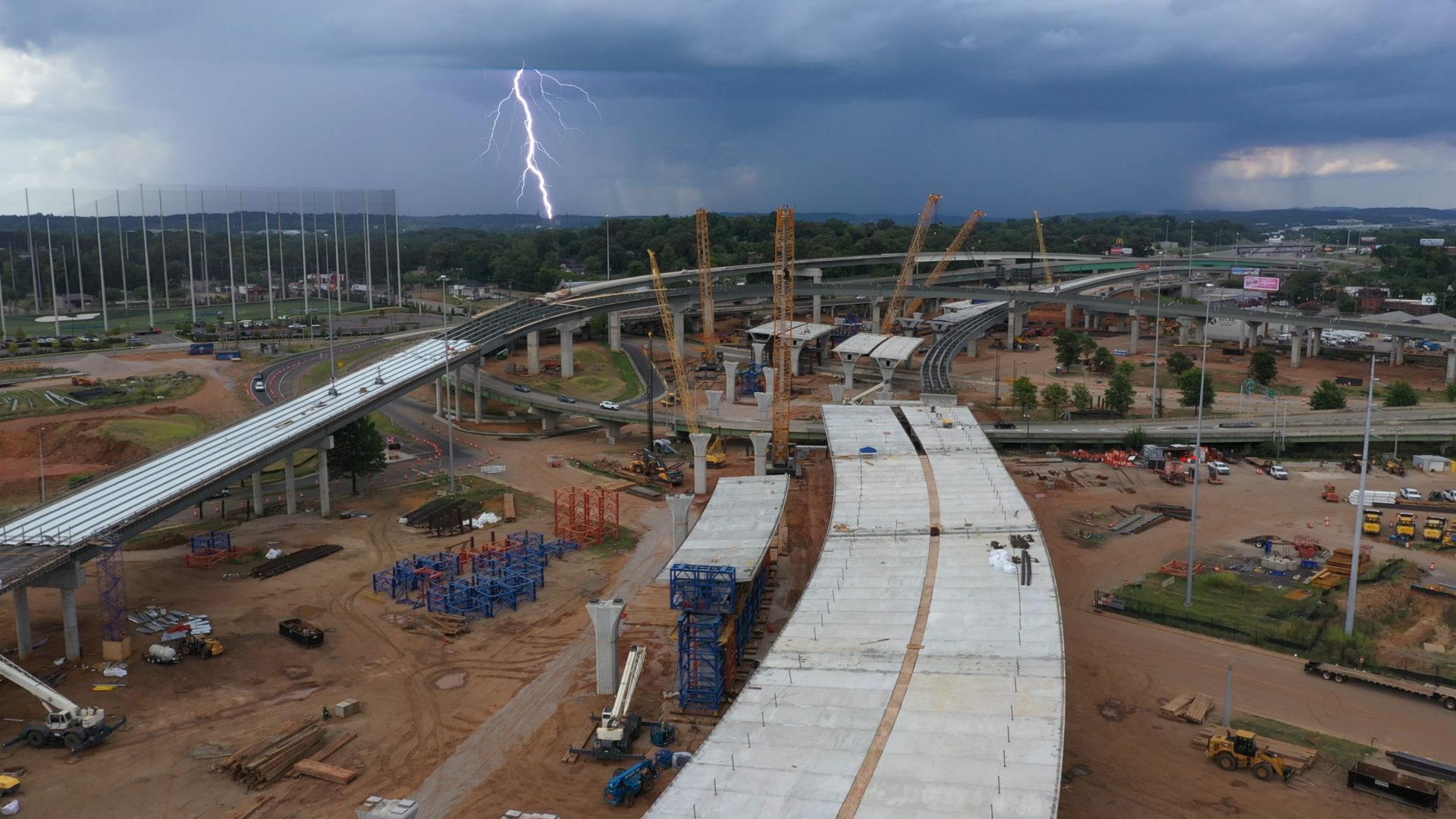 I5920 construction Birmingham, Alabama, Lightning.